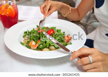 Female hands with a dinner. Romantic Dinner or lunch in a gourmet restaurant. (selective focus)
