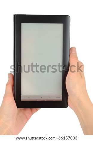 Female hands with electronic book isolated with clipping path over white - stock photo