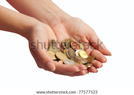 Female hands with money over white background - stock photo