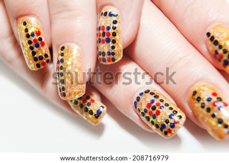 Female hands with nails art on the white background - stock photo