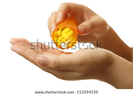 Female hands with prescription drugs, isolated on white. - stock photo
