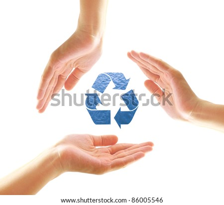 Female hands with recycle shape from water isolated on white - stock photo