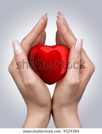 Female hands with red heart - stock photo