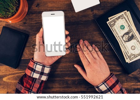 Female hands with smartphone with blank mock up screen for e-business, statistics, people and technology concept