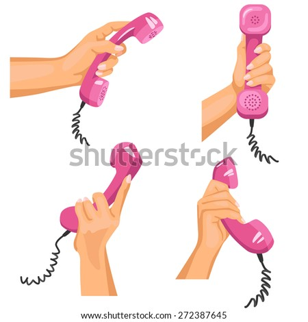 Female hands with telephones in them / There is illustration of female hands in different positions with pink telephone tubes in them - stock photo
