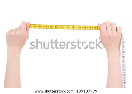 female hands with yellow measure tape isolated on white background