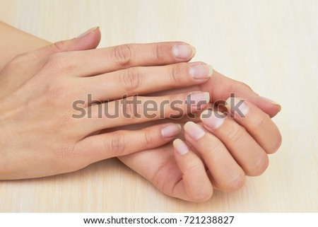 Female Hands Without Varnish On Nails Young Woman Clean Close Up Gentle