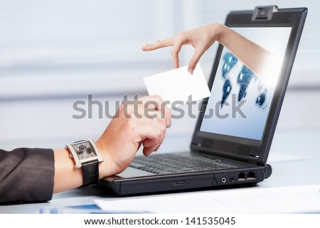 Female hands working on laptop - stock photo