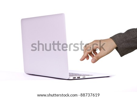 Female hands writing on laptop - stock photo