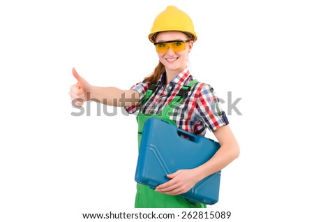 Female handyman in overalls isolated on white - stock photo