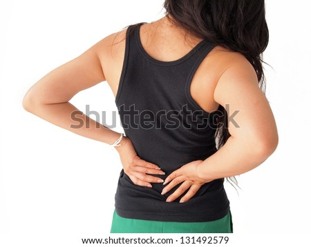 female has backache - stock photo
