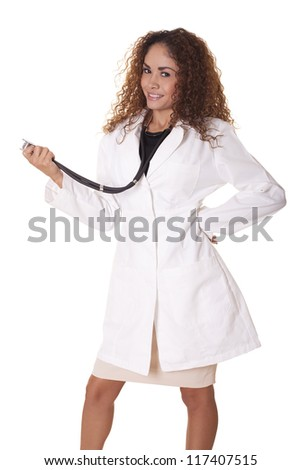 Female health care worker with a friendly smile, isolated on white background.