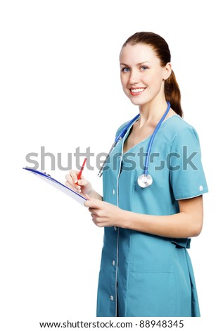 Female healthcare worker smiling to you, isolated on white background - stock photo