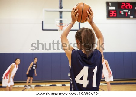 Female High School Basketball Player Shooting Basket - stock photo