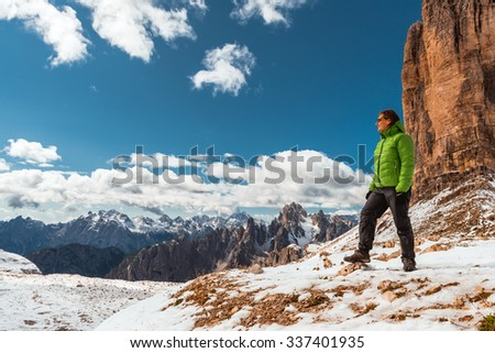 Female hiker near Drei Zinnen mountain, Dolomites, Italy