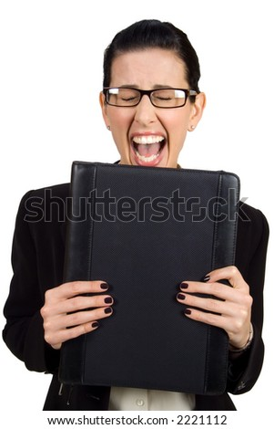 Female holding black briefcase screaming - stock photo
