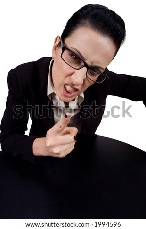 Female holding up finger yelling - stock photo
