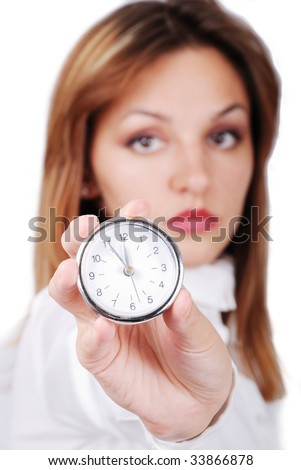 Female holding watch with 11:55 on it - Last moment for you - stock photo