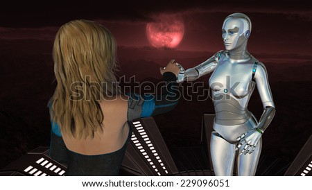 Female human and robot at red moon background - Artificial Intelligence Technology - stock photo