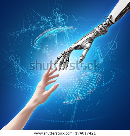 female human and robot's hands as a symbol of connection between people and artificial intelligence technology - stock photo
