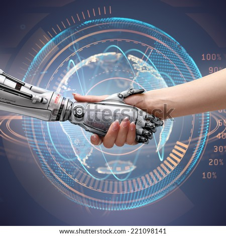 female human and robot's handshake as a symbol of connection between people and artificial technology. Isolated image - stock photo