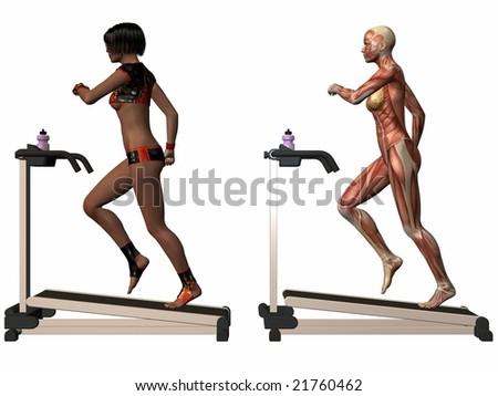 Female Human Body - Treadmill - stock photo