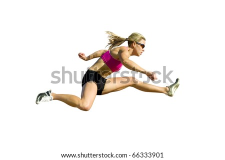Female hurdler jumps, isolated against a white background. - stock photo