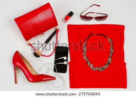 Female image to the party.Stylish set for girls. - stock photo