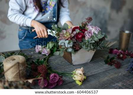 Female Gray Blouse Jeans Make Bouquet Stock Photo Royalty Free