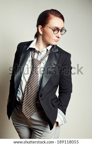 Female in the style garcon - stock photo