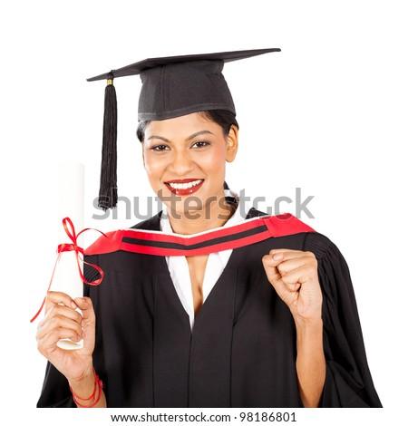 female indian graduate isolated on white background - stock photo