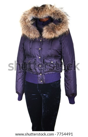 Female jacket with a hood on a white background - stock photo