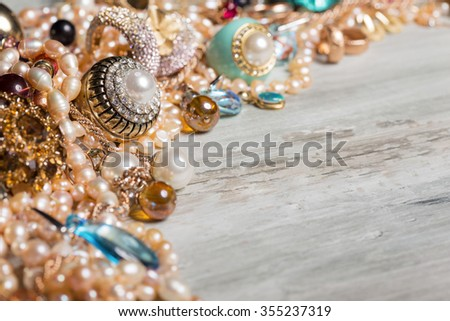 Female jewelry sitting on table