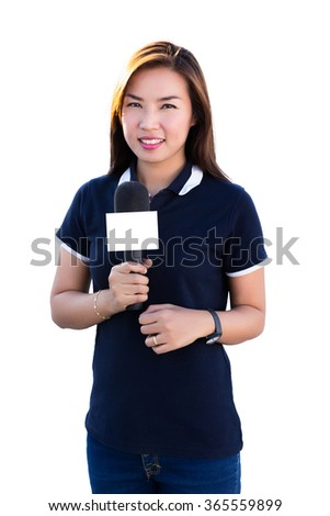 Female Journalist asian thailand isolated white background.