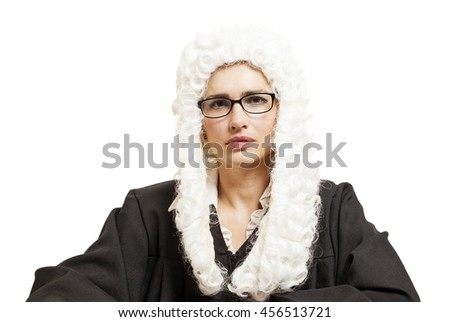 Female judge wearing a wig and Back mantle with eyeglasses isolated on white backgriund