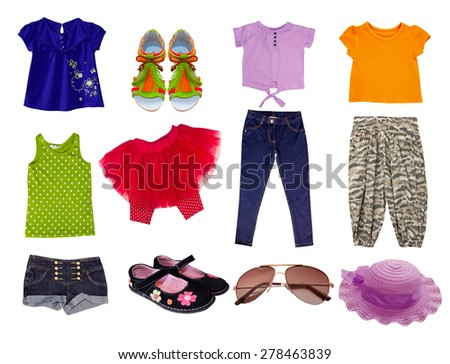 Female kid clothes set. Child girl fashion bright wear. - stock photo