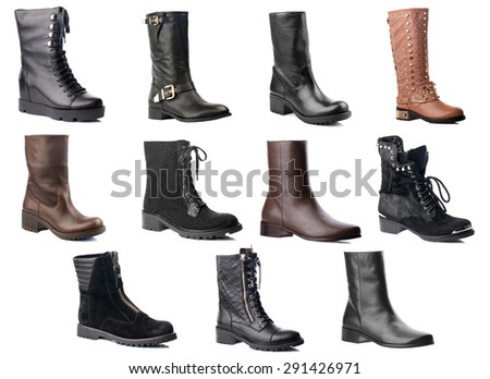 Female knee high boots collection on white background.
