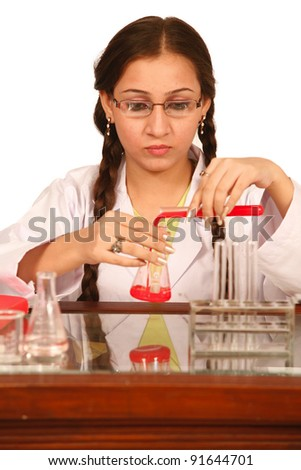 female laboratory assistant - stock photo