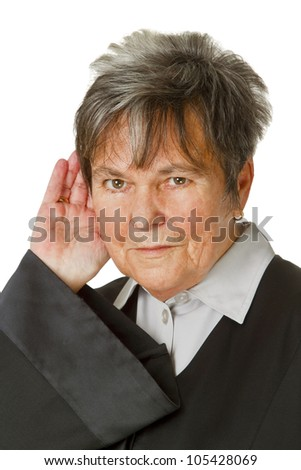 Female lawyer wearing a black robe isolated on white background