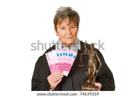 Female lawyer with money - isolated on white background - stock photo