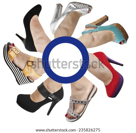 Female legs in different shoes and sandals on a white background - stock photo
