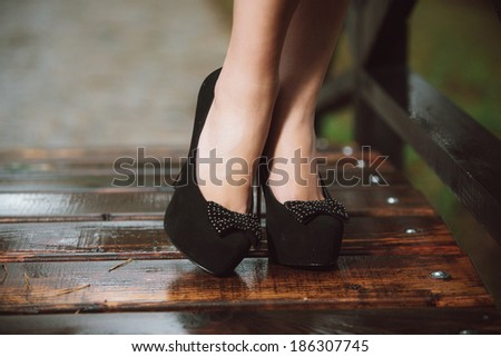 female legs in fashion shoes - stock photo