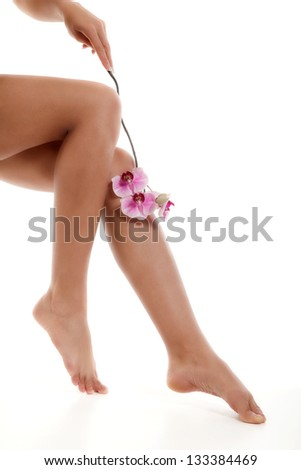 Female legs with pink orchid on white background - stock photo