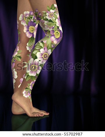 Female legs with purple and pink flower tattoos or body art against purple lit background.