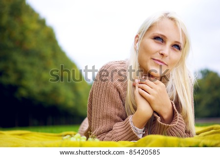 Female listening to music and relaxing - stock photo