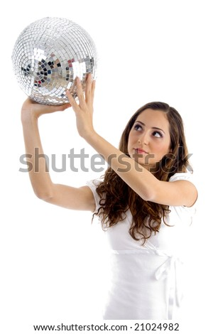 female looking at disco mirror ball on an isolated white background - stock photo