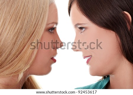Female lovers kissing - stock photo