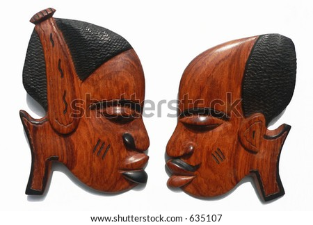 Female & Male African wood carvings - stock photo