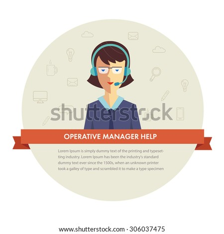 Female manager help banner.  - stock photo
