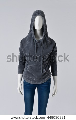 female mannequin in jeans shorts â??gray background  - stock photo